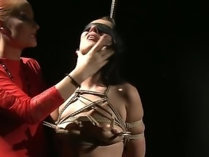 Cute brunette babe Deborah Black gets tied and punished with her wicked...