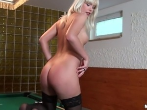 a blond freak in black stockings
