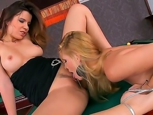 Blonde Peaches is in heat in lesbian action with lovely Katalin