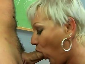 Horny blonde mature Cecily licks her boyfriends asshole and gets pelasure