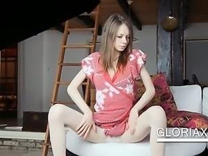 Slim russian sex doll flashing her butt upskirt