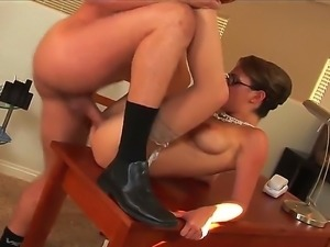 Lusty hot ass brunette milf Hilly West with french manicure and sexy glasses...