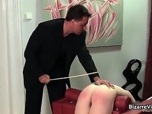 Innocent brunette babe gets bent over
