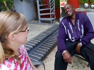 Teen blonde Penny Pax pleases mature black stud with arousing blowjob