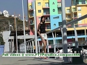Suri lovely brunette woman flashing tits and ass and pussy in a public place