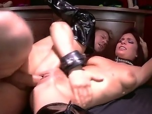Busty hot babe Ashley Graham gets her tight shaved pussy pounded hard by a...
