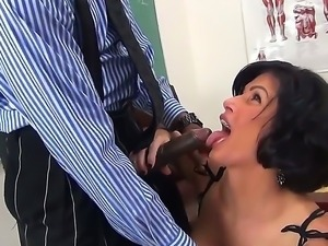 Sean Michaels lets his long black cock penetrate Shay Foxs tight little vag