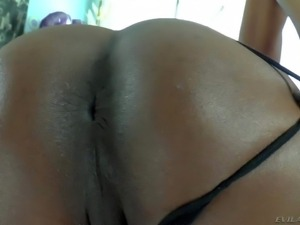 Short haired black shemale slut with long nails and cheep make up in fishnet...