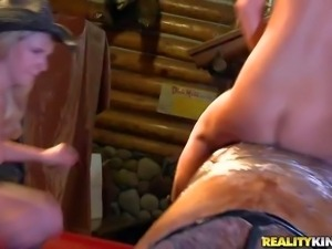 These cowgirls show it all as the ride the bull naked in front of the camera...