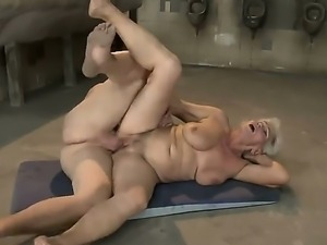 Old and crazy blonde granny Norma gets a young dick in her hairy pussy