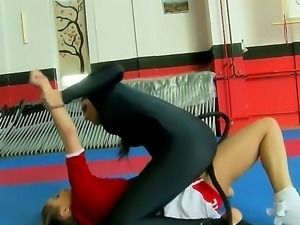 enjoy two depraved and codding lesbian chicks Celine Doll and Mira in fight club
