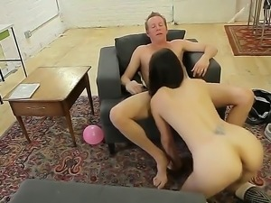 Sexy gorgeous babe moans and gasps as her tight cunt is penetrated hard and...