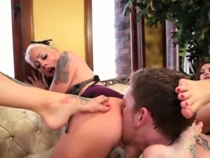 Sexy femdoms have a slave worshiping their feet