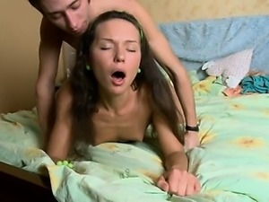Russian couple copulate hard on the bed