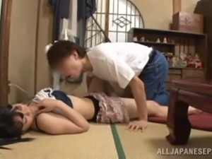 japanese housewife gives a blowjob