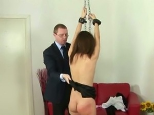 Paddle spanking and whipping for female slave