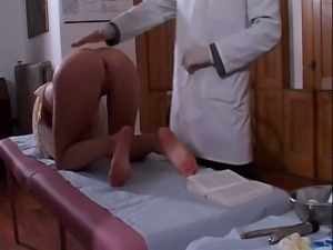 Med students toying a blonde