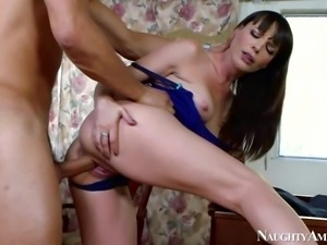 Horny dark haired housewife Dana Dearmond enjoys in seducing her new young...