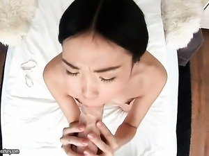 Teen asian wants dudes man meat to fuck her beaver hard in interracial porn...