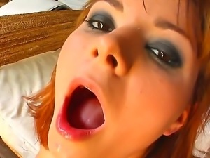 Cheep tempting redhead slut Cristal gets her round bouncing ass banged hard...