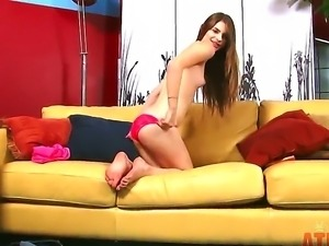 Amateur teen brunette Alice March with small titties and tight ass in red...