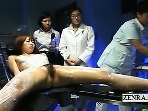 Subtitled CFNF Japanese model lesbian massage by nurses