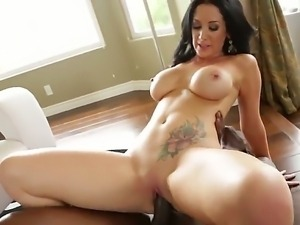 Jayden Jaymes fills Lexington Steele with his hard and big black cock. She...