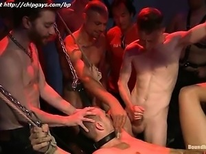 Bound belts guy with clothespins gets sperm