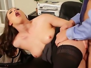 Brunette babe swallows a huge dick in her tight pussy doggystyle in an office...