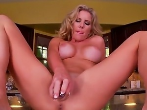 Glamour blonde with huge boobs Ainsley Addison got on kitchen counter totally...