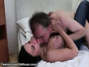 Brunette whore goes crazy licking an old part4
