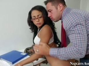 Nasty and arousing asian secretary enjoys in getting her shaved taco banged...