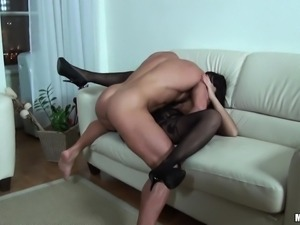 busty chick gets fucked on couch