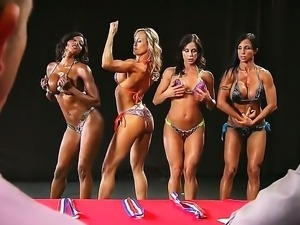 Four hot babes compete in Miss Titness America showing off thier sexy asses,...