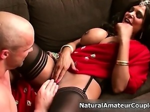 Busty brunette amateur slut goes crazy