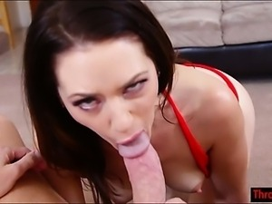 Sarah Shevon gags on big cock like a pro