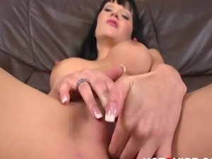 The stunning Emma stripteases and rubs her pussy with her cock ring vibrator.