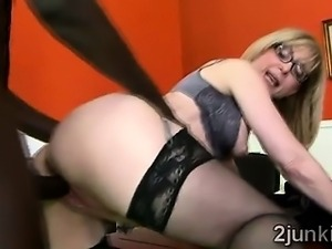 Gorgeous blonde cougar gets smashed by her sons black boss