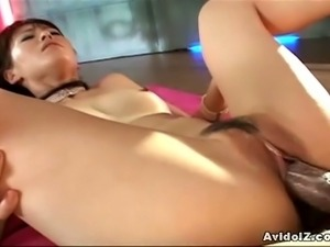 Sexy japanese babe gets drilled by two dudes