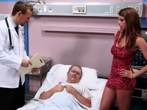 hot babe screws grandpa for the doc