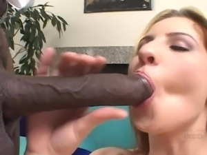 Blonde gets her pussy drilled by a black cock