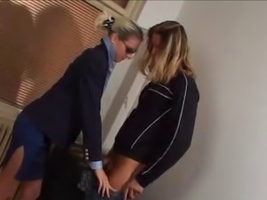 Woman In Blue Satin Blouse & Sunglasses Gets Fucked