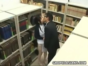 Shy Schoolgirl groped and used in a school library free