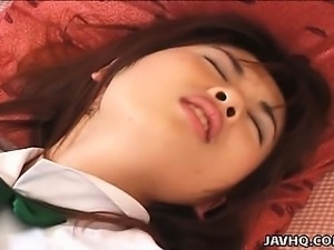 Japanese teen  Momoka in school uniform gets fingered Uncensored
