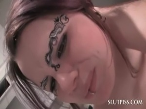 Piss slave tattoed girl gets sexually punished free