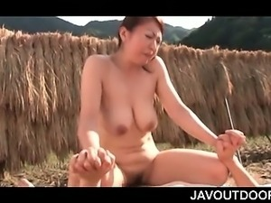 Hardcore Asian outdoor sex with busty mature riding shaft