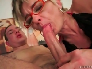 Granny and her boyfriend enjoying a nasty sex session