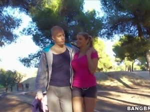 Hot and arousing brunette amateur Katerina gets picked up in a park by an...