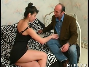 French brunette slut gets her ass drilled