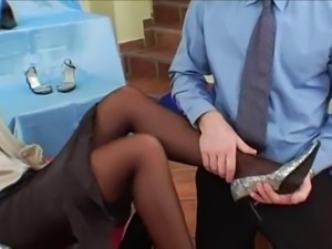 Woman In Grey Satin Blouse & Black Satin Skirt Gets Fucked
